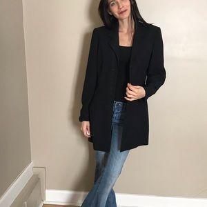 Halston Black Long Blazer Coat Jacket size 8